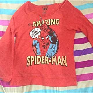 Marvel Heroes Spiderman Off Shoulder Ripped Sweater