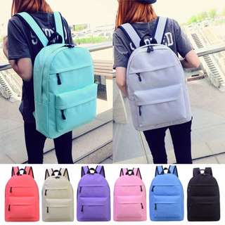 PO Double Zip Pocket Plain Casual School Bagpack Bag