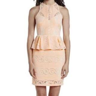Shona Joy Peach Lace Dress Size 6