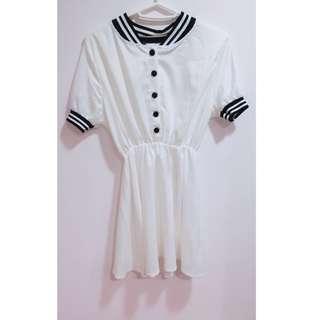 含運💓白色學院風連身洋裝
