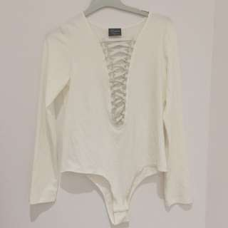 White Dream House Long Sleeve Lace Up Bodysuit