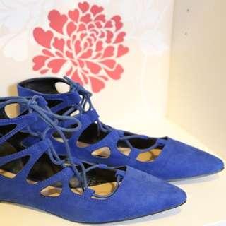 ASOS Blue Suede Flats With Laces Eur 38
