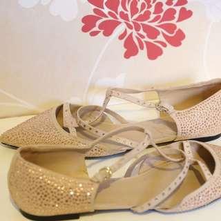 ZARA Nude Flats With Glitter Studs