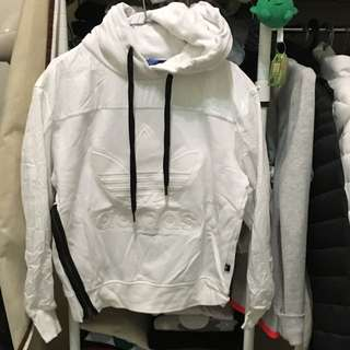 Adidas 全白黑拉鍊帽T