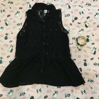 H&M蕾絲黑上衣#女裝五折出清