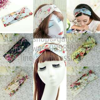 B57 Twisted floral cotton wide headband