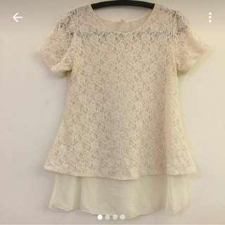 (轉賣)(korea)米白色外蕾絲內雪坊短袖上衣