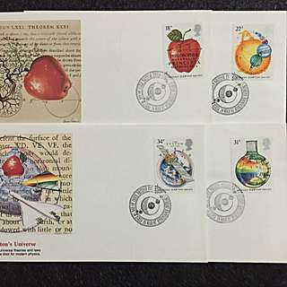 GB 1987 Isaac Newton 4xFDCs stamps