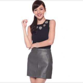 Love Bonito Sherona faux leather skirt Grey in Medium