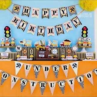 Full Set Construction BIRTHDAY Party Printables And Invitation Package