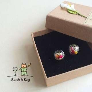 《Gorilla&Derp》手工-乾燥花系列-雛菊 玻璃球耳環/耳夾 銀針