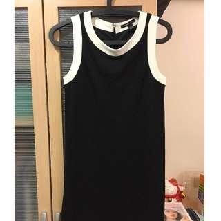 衣櫃清倉MANGO氣質赫本黑白經典洋裝