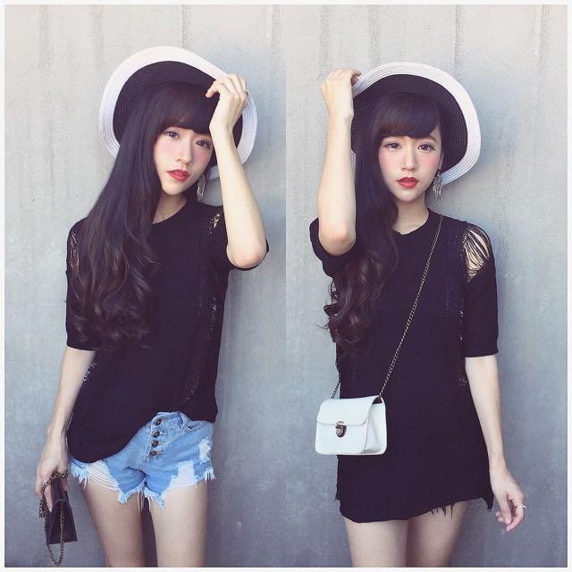 #667 素色歐美抓破針織洋裝(黑)