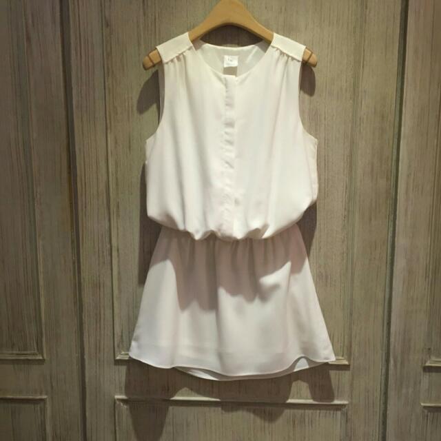 降~正韓 白色寬版西料背心洋裝