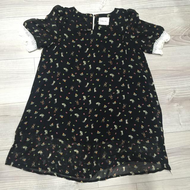 黑色小麋鹿雪紡蕾絲洋裝
