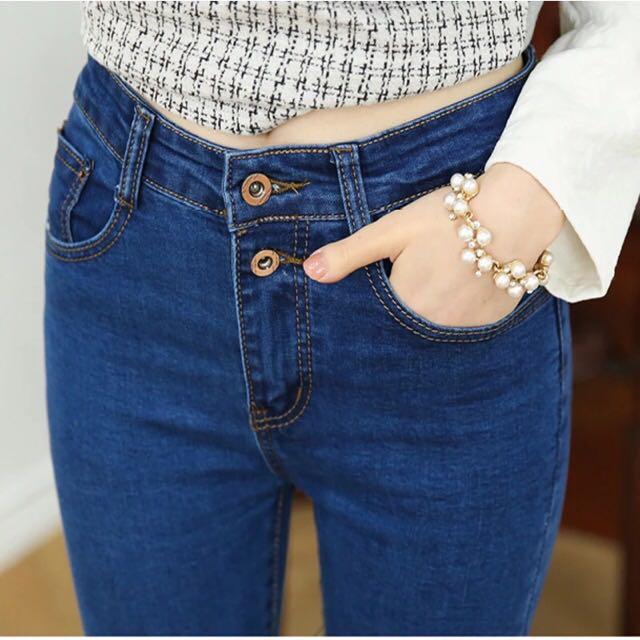 韓版雙釦高腰牛仔彈力顯瘦鉛筆褲