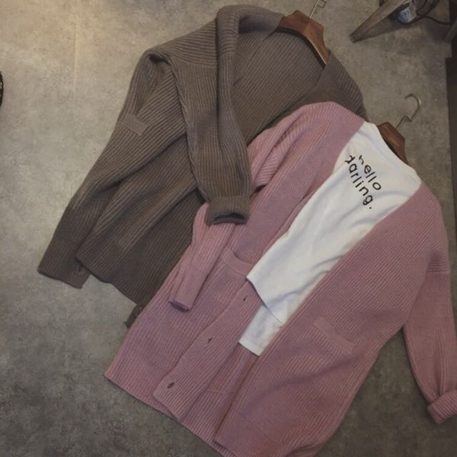 復古韓國風溫暖粉嫩寬鬆中長款毛衣休閒衫外套