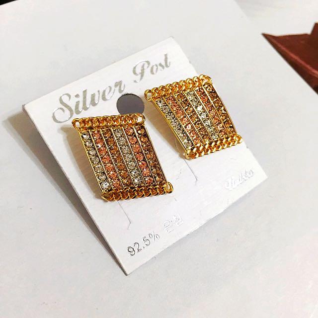 正韓 時尚繽紛漸層小鑽耳環