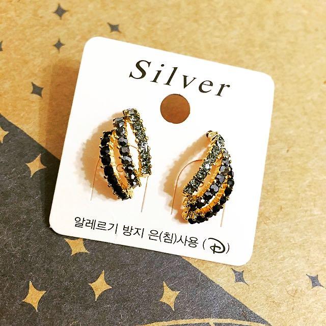 正韓 個性造型黑鑽耳環