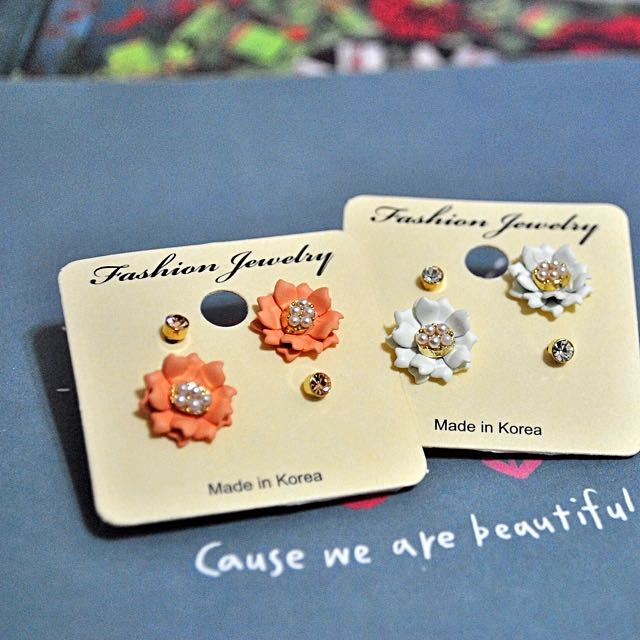 正韓 氣質珍珠花朵造型耳環