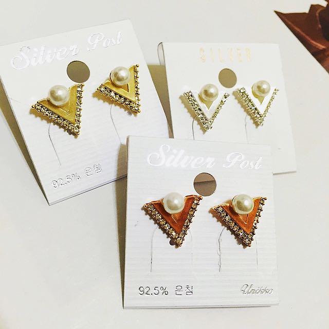 正韓 金屬三角珍珠耳環