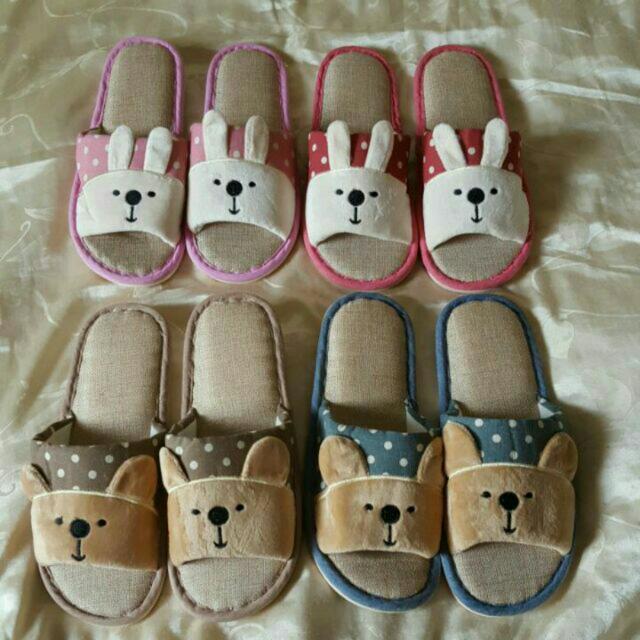 【現貨】亞麻拖鞋 居家 家居 室內拖鞋 兔子 熊 新年 拖鞋 地板拖鞋 情侶拖鞋