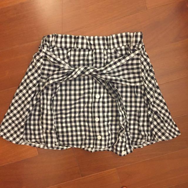 全新 黑白格子 綁帶短裙