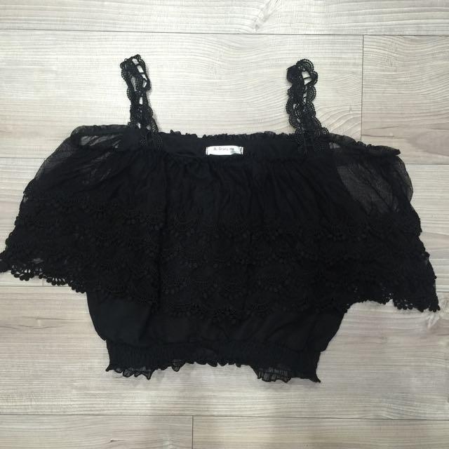黑色 雪紡 一字領 蕾絲縮口上衣