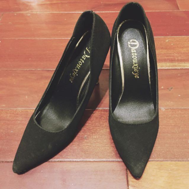 黑色 尖頭 金屬 宴會 高跟鞋
