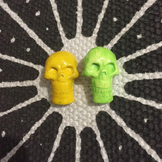 Handmade Plastic Skull Badges