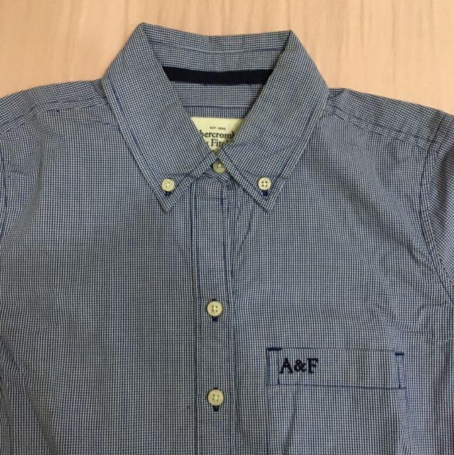 A&F藍白小格子襯衫