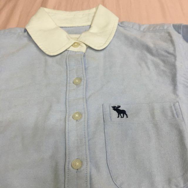 A&F 白領淺藍牛仔布襯衫