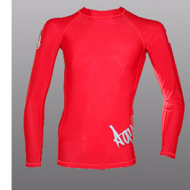 Aquamundo Long Sleeve Rash Guard (Red) for scuba diving, freedive or surf