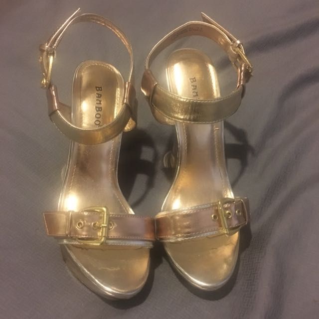 """""""Bamboo"""" Rose Gold And Gold Wedges - so amazing! Size 7 1/2"""