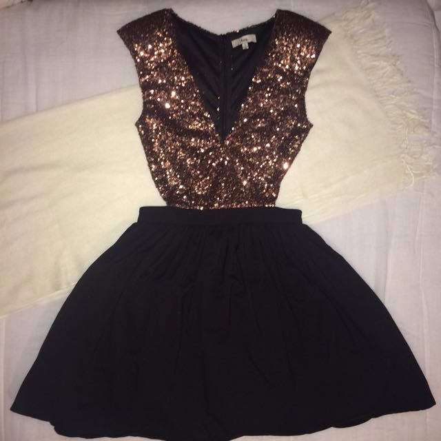 Black & Gold Cut-Out Formal Dress