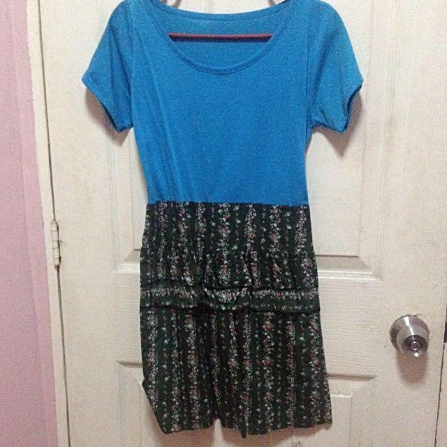 Blue-Floral Dress