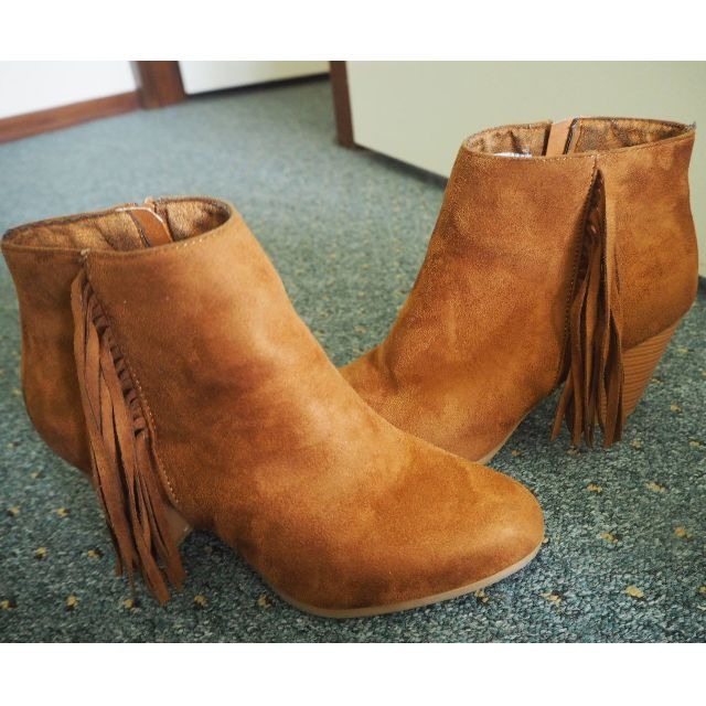 Brown Faux Suede Ankle Boots with Tassels SIZE 8