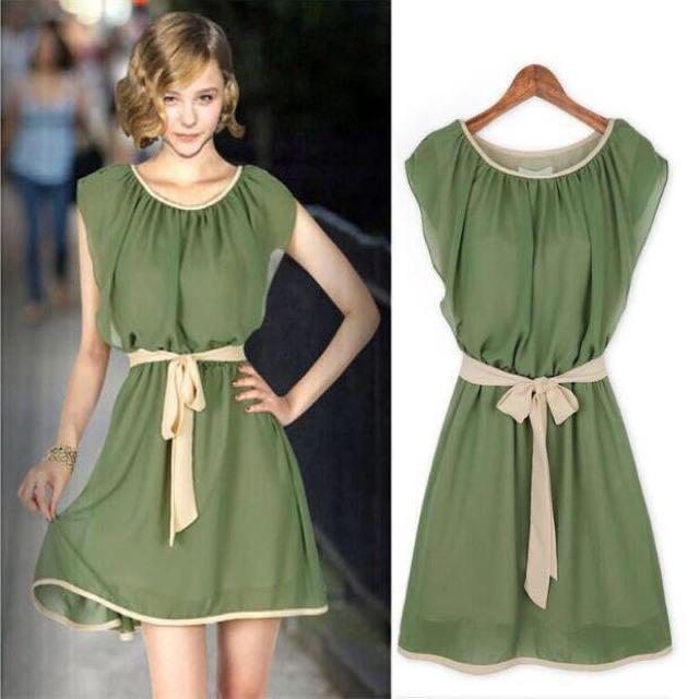 Chiffon Ruffled Sleeve Dress