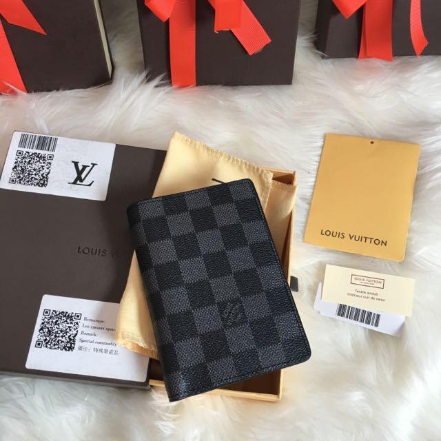 Damier Graphite Louis Vuitton Replica Compact James Wallet Card Holder M63117 Men's Women Designer