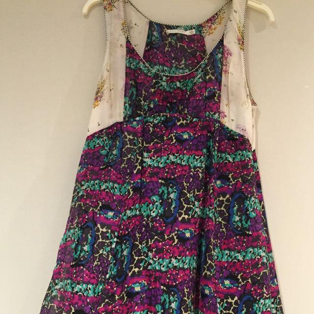⭐️⭐️⭐️Decjuba 100% silk multi coloured  dress Size 14