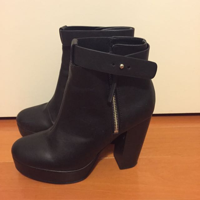 H&M Classic Black Booties In Size 8