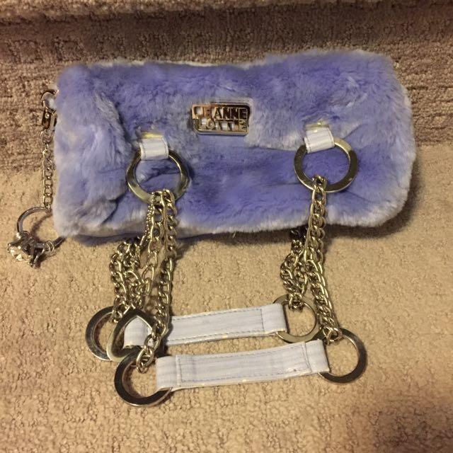 Jeanne Lotte Purple Fur Handbag