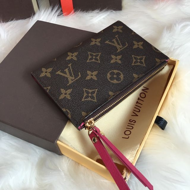 Louis Vuitton Adele Wallet Compact Zippy Card Holder Purse Coin Wallet M60495 Lv Brown Monogram Real Leather Rose Red Hot Pink Fuchsia