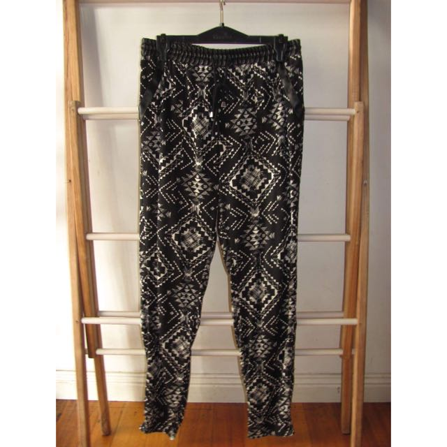 Patterned Summer Pants With Leather Trims