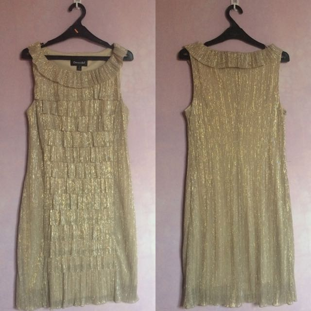 [PRELOVED] Connected Gold Ruffle Dress