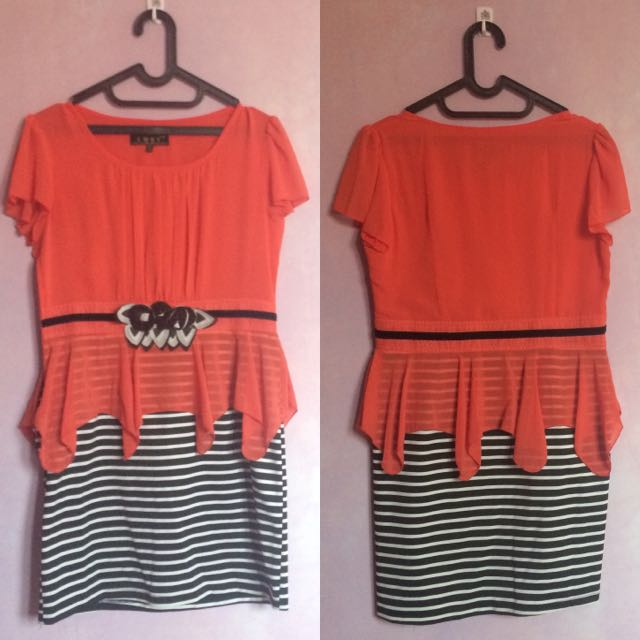 [PRELOVED] Orange Stripes Black-White Peplum