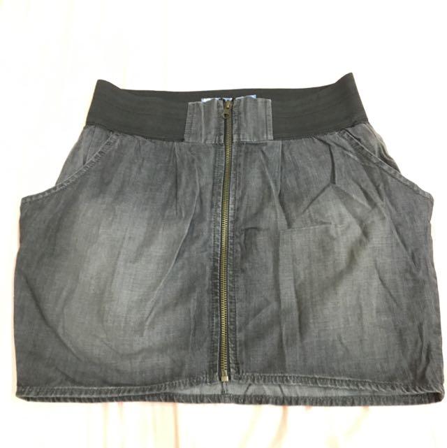 PULL & BEAR刷色牛仔拉鍊窄裙