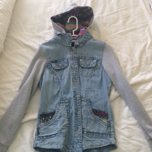 Refugee Embroidered Denim Jacket With Grey Sleeves