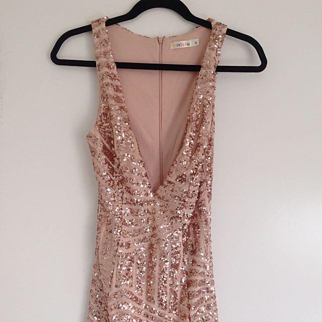 Showpo Gold Sequin Dress