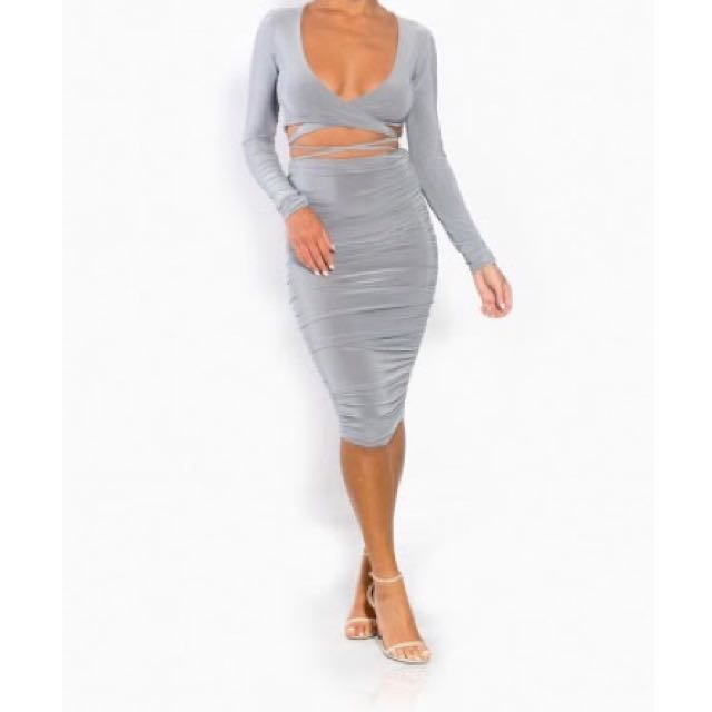 Sabella Collection Two Piece Coordinate Skirt Wrap Top